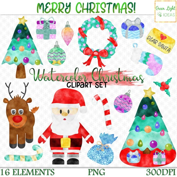 Watercolor Christmas Clipart Christmas Clip Art Set Xmas Graphics Commercial Use Holiday Clip Art Santa Rudolf Handdrawn Png Clipart