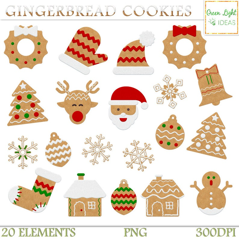 Christmas Gingerbread Cookies Clipart Christmas Clipart Gingerbread Clipart Christmas Graphics Commercial Use Holiday Graphics Xmas Png