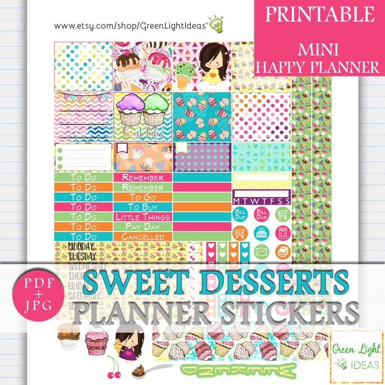image about Cute Printable Stickers titled Cupcakes MINI Pleased Planner Printable Stickers, Sweets Lovable Printable Stickers, Summer months Weekly Sticker Package, Cupcakes Birthday Magazine Sticker