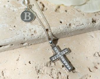 Women 925 Sterling Silver CZ Cubic Crystal Cross Pendant Necklace Jewelry UK