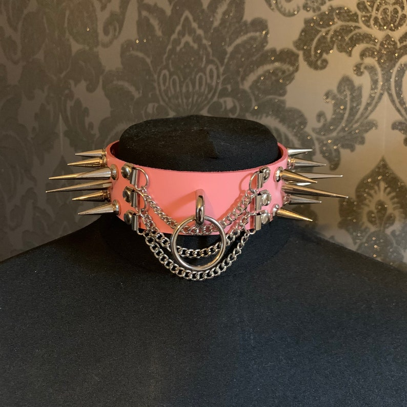 Genuine Leather Pink Chained /& Spiked O Ring Choker