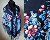Ukrainian elite shawl Wool traditional dark blue pink navy scarf Ethnic shawl with flowers 120 cm Large floral shawl Ukraine accessory