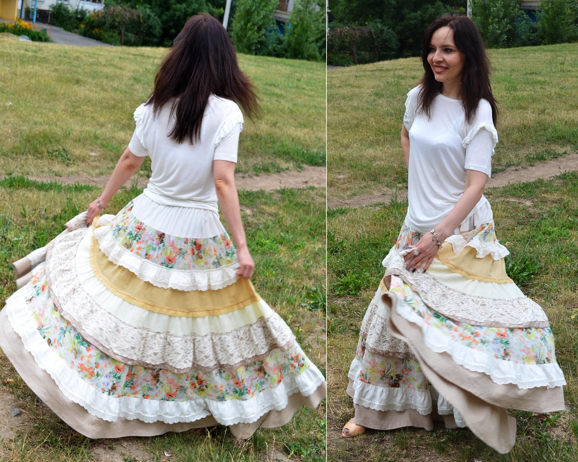 242fac5107 Maxi skirt Boho lush skirt EU 38-42 Ivory beige long bohemian | Etsy