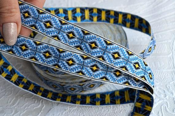 5 Metres Blue And White Greek Key Style Jacquard Trim