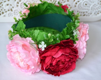Ukrainian wreath Pink rose large flowers headwear Ukrainian folk head attire for woman Floral crown Ethnic boho wreath Wedding Venok Vinok