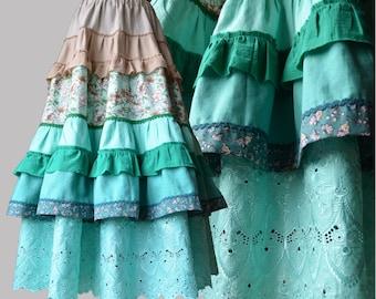 Maxi skirt Boho lush skirt Green beige long bohemian skirt with frills Summer hippie linen skirt with flowers Boho romantic clothes