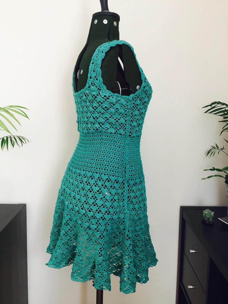 Handmade Crochet Dress UK size 1416 Fern Green with silver thread Above Knee Length