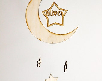 Personalized Modern Moon & Stars Baby Mobile | Custom Name