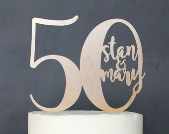 Personalized 50th Anniversary Cake Topper | Custom Name
