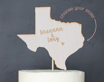 Personalized State Wedding Cake Topper | Custom Name | Shortcake Collection