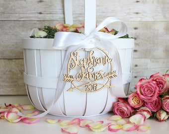 Personalized Modern Rustic Arrow Wedding Flower Girl Basket Tag | Custom Name