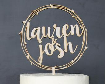Personalized Names Wreath Wedding Cake Topper | Custom Name