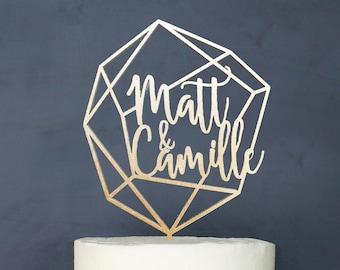 Personalized Geometric Wedding Cake Topper | Custom Name