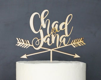 Personalized Modern Rustic Arrow Wedding Cake Topper | Custom Name