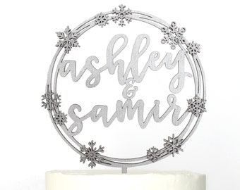 Personalized Modern Rustic Winter Snowflake Wedding Cake Topper | Custom Name | Christmas Wedding