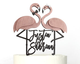 Personalized Flamingo Flamingle Beach Wedding Cake Topper | Custom Names
