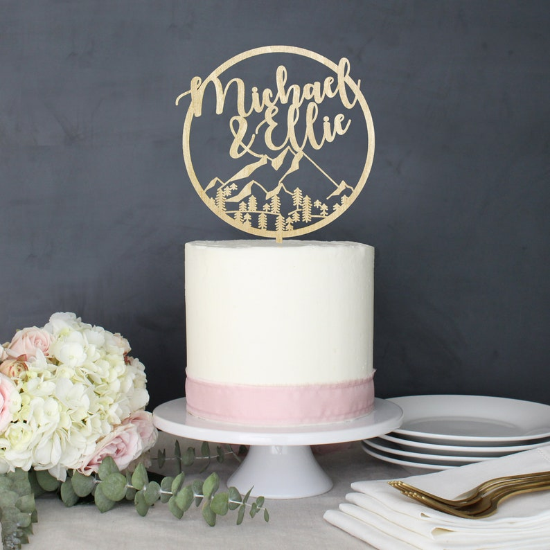 Personalized Modern Rustic Mountain Wilderness Wedding Cake image 0
