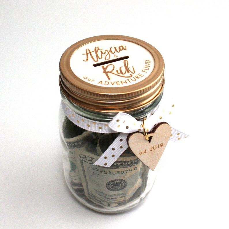 Custom Bank Savings Jar  Personalized Mason Jar Bank Kit  Assembled-Small Jar