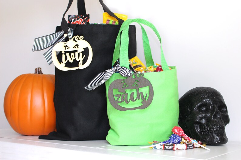 Halloween Personalized Pumpkin Candy Bag  Trick or Treat image 0