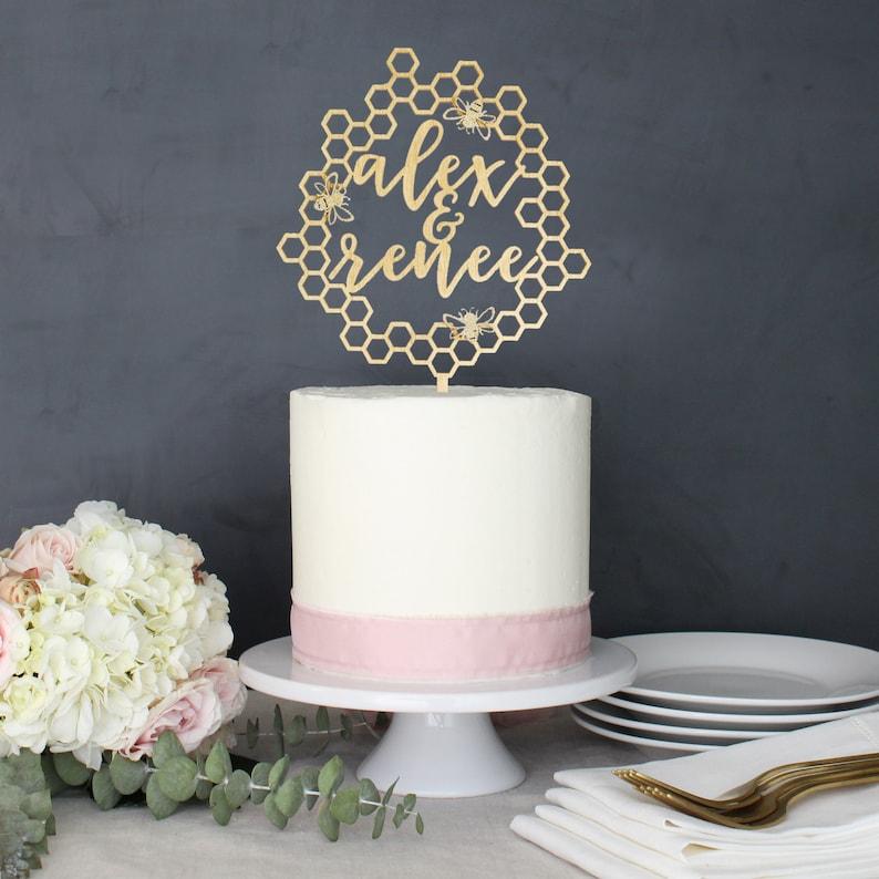 Personalized Modern Rustic Honey Bee Bumblebee Wedding Cake image 0