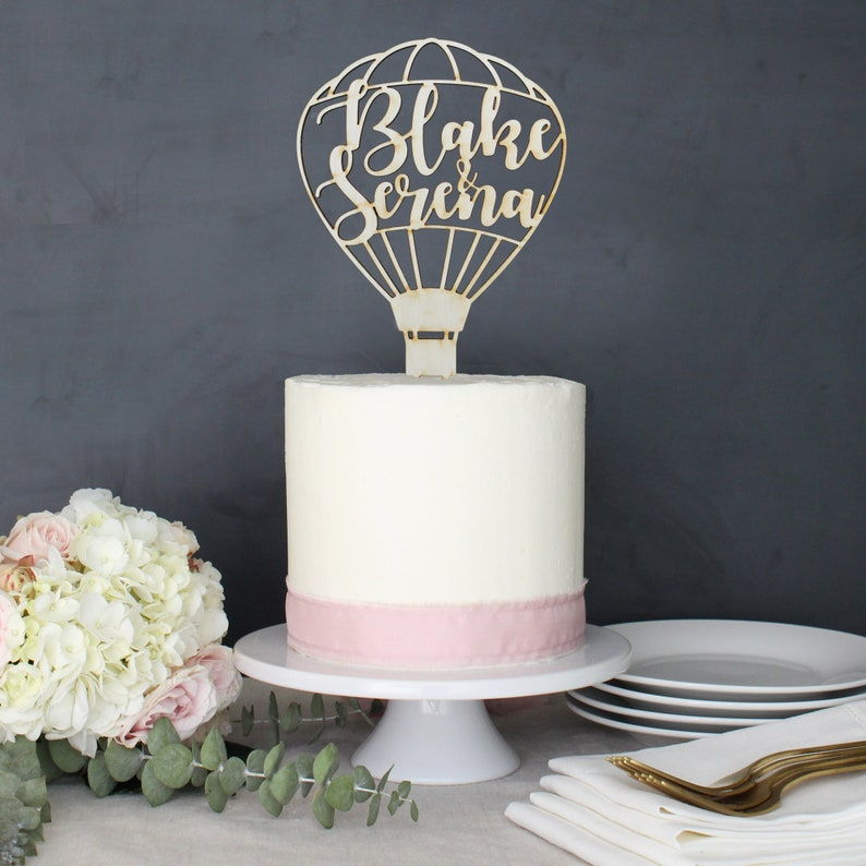 Personalized Modern Rustic Hot Air Balloon Wedding Cake Topper image 0