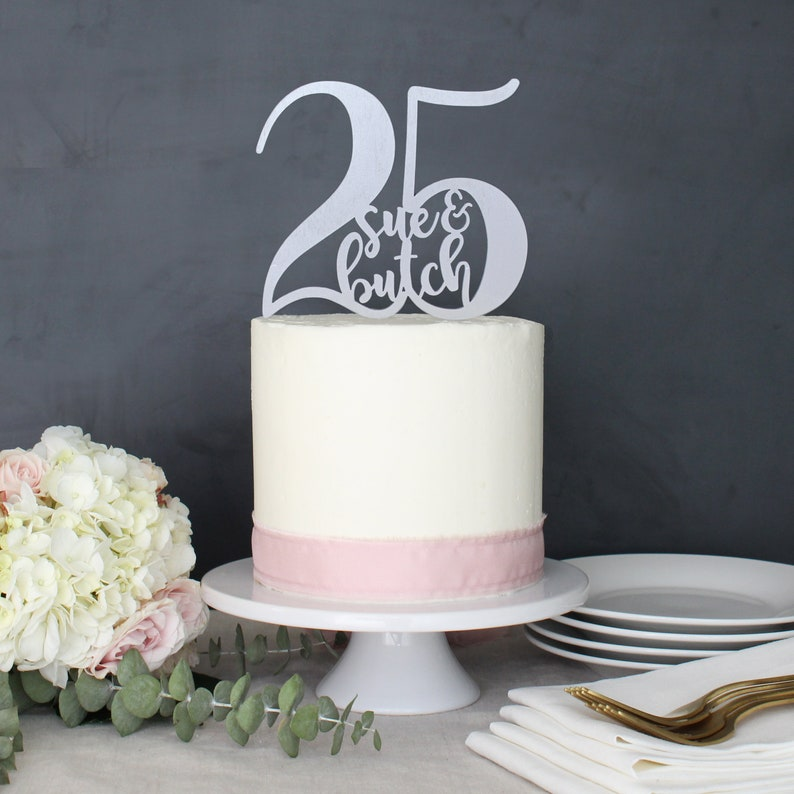 Personalized 25th Anniversary Cake Topper Custom Name