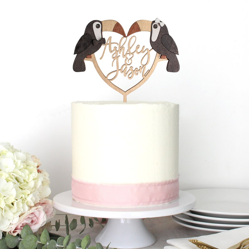 Personalized Toucan Bride Groom Beach Tropical Wedding Cake image 0