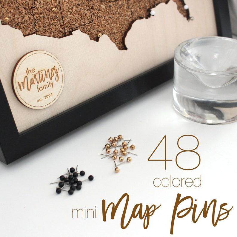 48 Mini Plastic Head Colored Map Pins Push Pins Gold Silver image 0