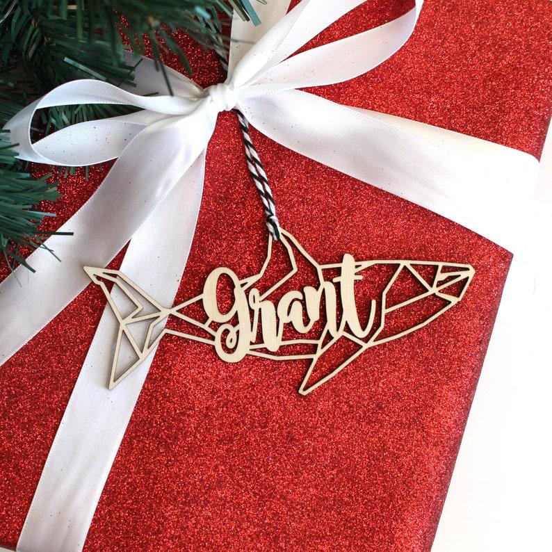 Modern Geometric Great White Shark Meg Megladon Baby Shark Animal Christmas Ornament Gift Stocking Tag \u2013 Personalized