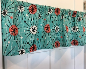 Retro Mid Century Mod Modern Atomic Vintage Turquoise Black White Red Valance Curtain Christmas