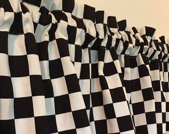 Black And White Checkered Kitchen Valance Curtain