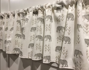 Premier Prints Ecru Baby Nursery 52 Valance Curtain Tan Bear and Arrows Taupe White with Gray