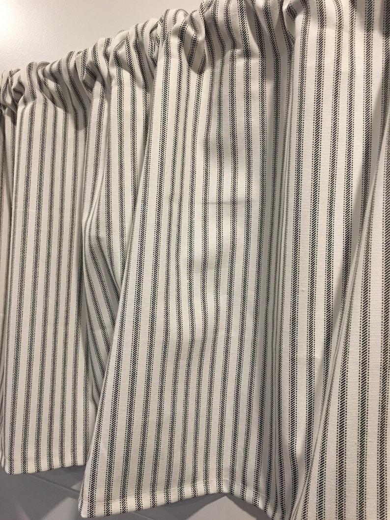 Premier Prints Gray Storm Stripes Ticking White French Country Farmhouse 54 Valance