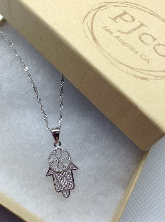HAMSA HAND Pendant Hung on a 925 Stamped Sterling Silver Necklace Chain