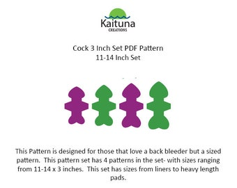 Cock, 11, 12, 13 and 14 x 3 inches, PDF Pad Pattern Set, Convertibles,  Kaituna Creations
