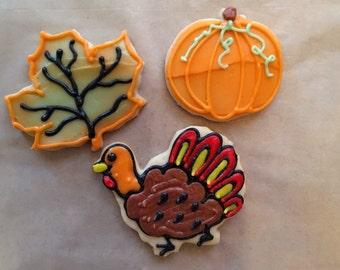 1 dozen Thanksgiving individually wrapped favor size cookies