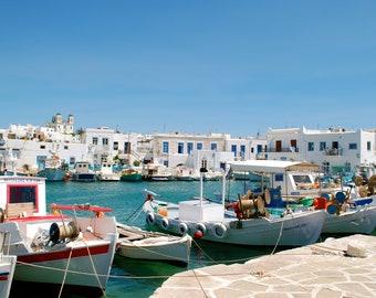 Matted Photo Print - Naoussa Harbor, Paros