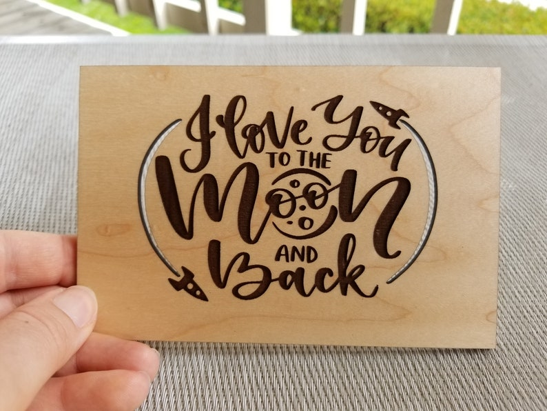 Wood Card Laser Cut Five Year Anniversary I Love You To The Moon and Back Laser Engraved Valentines Day Card Unique Gift