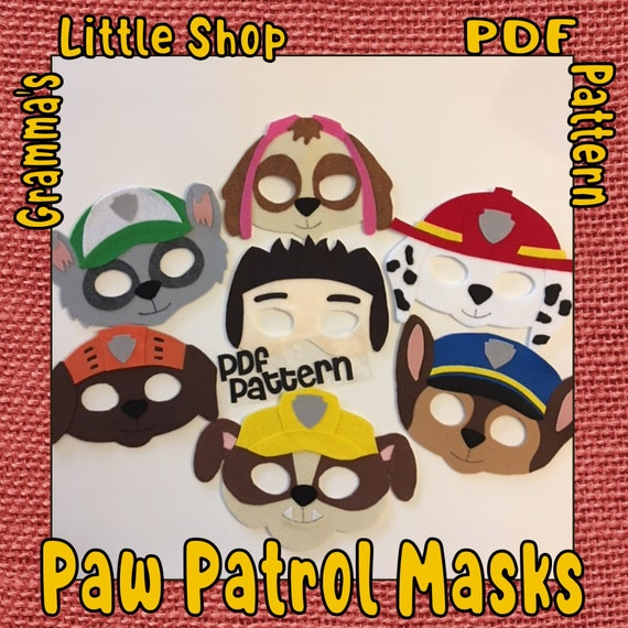 Paw Patrol Mask Patterns For Ryder Zuma Skye Chase Marshall Rocky And Rubble Pdf Download