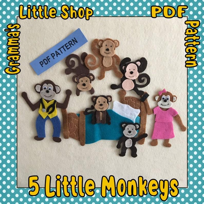 5 Little Monkeys Felt Board, Jumping on the Bed, Teasing Mr Crocodile Felt  patterns - PDF PATTERN ONLY