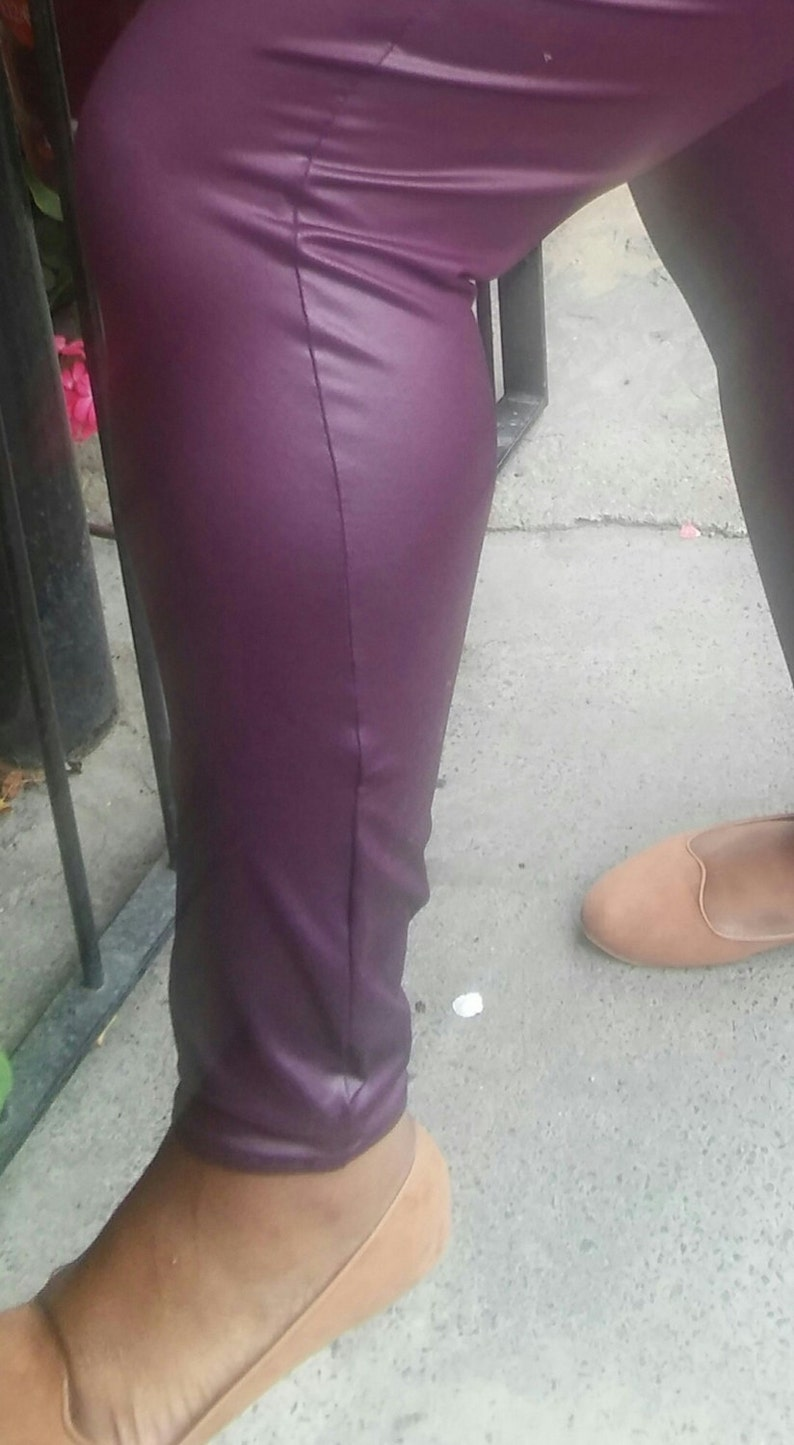 a4580d80cb7f84 Burgandy faux leather Plus size wet look leggings sizes 18-30   Etsy