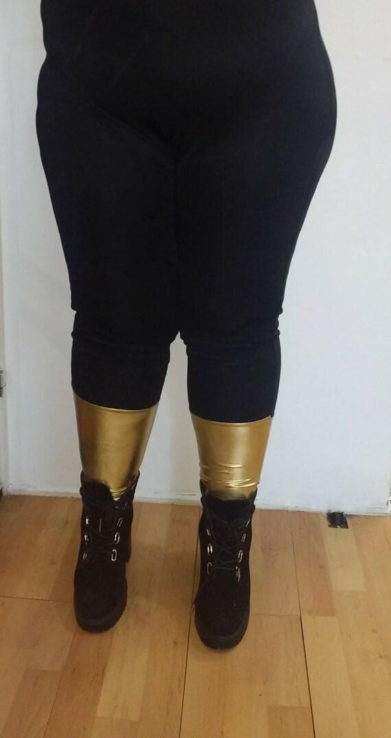0ecb7b0cf2f Black two tone Lycra leggings gold silverpinkblue etc plus