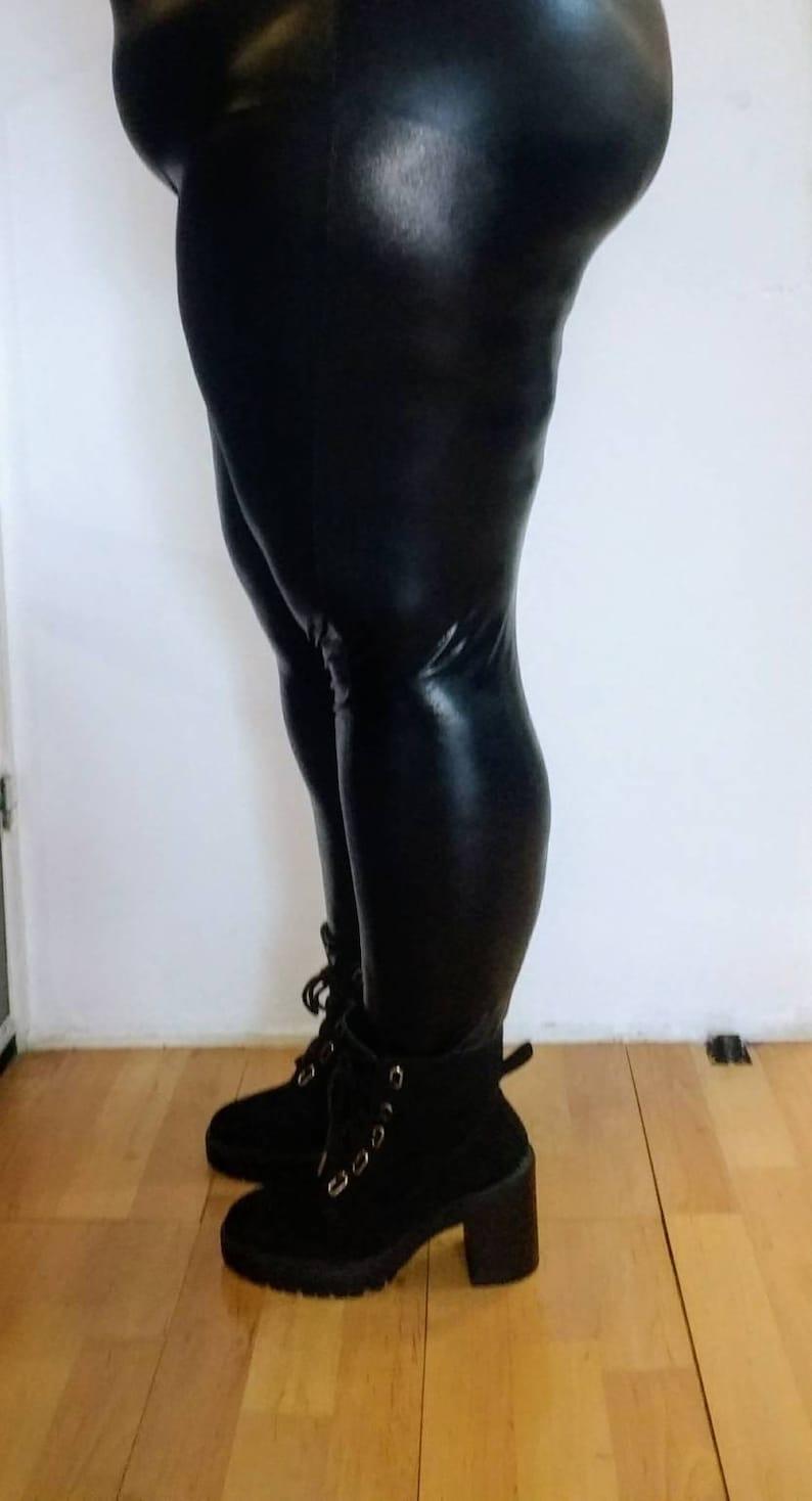 f8d2c9e6a5e6b Black PVC wet look Lycra leggings plus size leggings