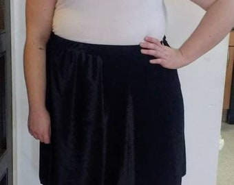 Black Velvet skater skirt, plus size skirt, circle skirt edm,dance, rave,festival wear sizes 18-28