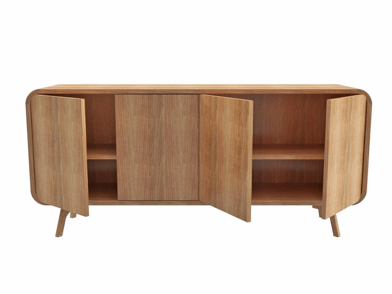 High Sideboard wood TV unit with two compartments TV Stand image 0