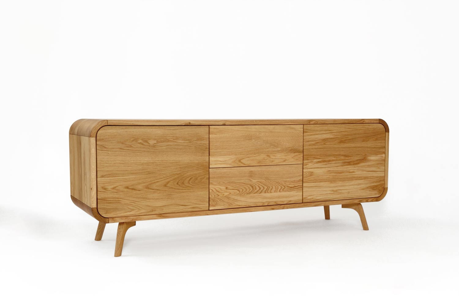 detailed look 03cde a526a Natural Wood Sideboard with two push to open drawers and compartments, TV  Stand, vinyl record storage, Low Dresser, Credenza Media Console