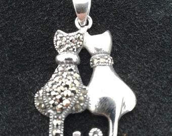 925 Sterling Silver Bp1369 Vintage Marcasite Love Heart Brooch Pin