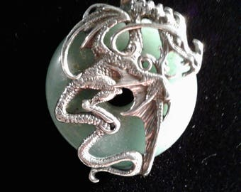 Sterling Silver Dragon Pendant with 30mm Aventurine Donut