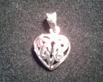 Sterling Silver Celtic Heart Pendant  #w9114