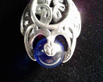 Sterling Silver Gothic Celestial Pendant with 12 mm Siberian Blue Quartz Sphere